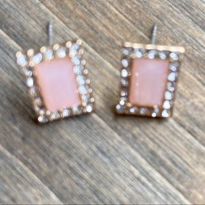 PINK QUARTZ JEWELED DIAMOND STUDS EARRINGS